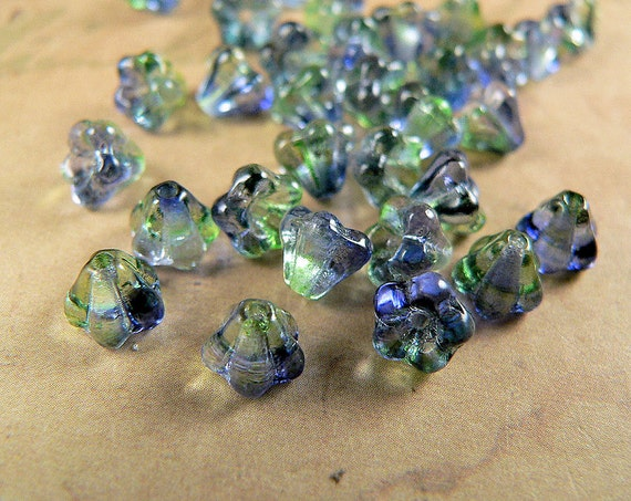 Blue Green Czech Glass Baby Bell Flower Beads Blueberry Green Tea 4x6mm (25)