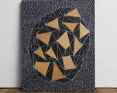 """Geode 1 - Original 8"""" x 10"""" Art, Wood Veneer & Illustration on Matte Black Wood Panel"""