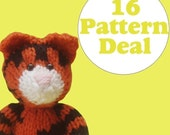 KNITTING PATTERN DEAL - 16 Animal Toy Patterns - you choose (pdf)