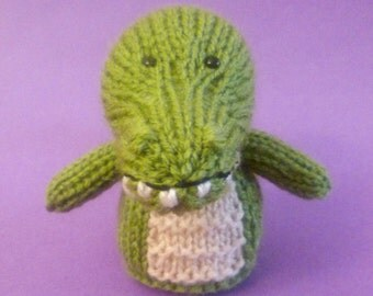 Crocodile Toy Knitting Pattern (PDF) Toy, Egg Cozy & Finger Puppet instructions included