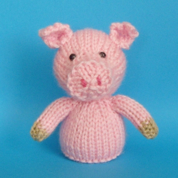 Knitting Patterns Toys Finger Puppets : Pig Toy Knitting Pattern PDF Legs Egg Cozy & Finger Puppet