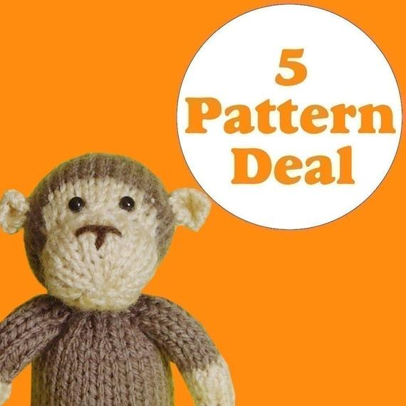 KNITTING PATTERN DEAL - 5 Animal Toy Patterns - you choose (pdf)