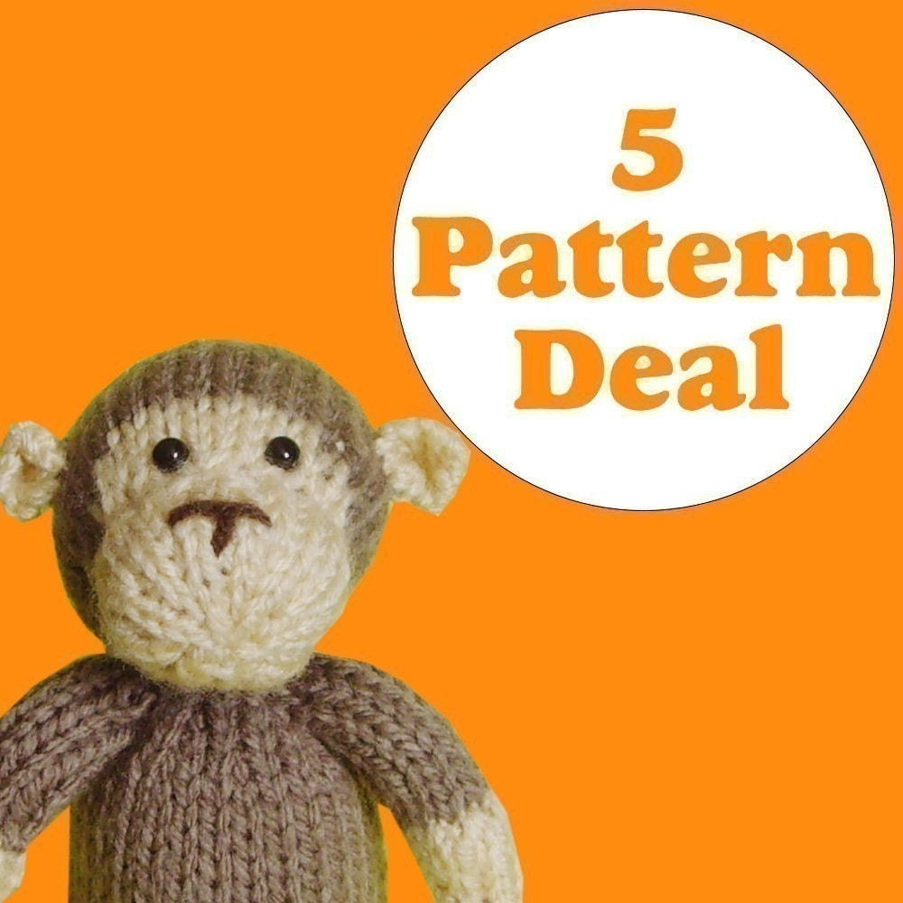 KNITTING PATTERN DEAL 5 Animal Toy Patterns you by Jellybum