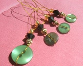 Green Button Stitch Markers (4)