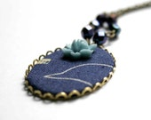 Bird in Heaven - necklace made of fabric and brass filigree on brass chain