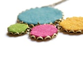 Four Colors - textile jewelry - necklace made of fabric and brass