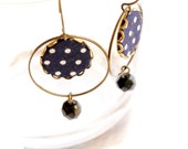 Hoop Earrings in Blue and White with Polka Dots - Almost Navy