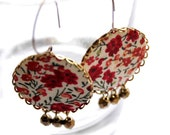 Big Dangling Earrings in Red and Brown with Liberty London fabric - Red Flowers