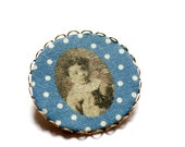 Brooch in Steel Blue with Little Boy Portrait- Jancsika- Ancestors Collection