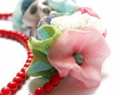 Statement Necklace in Red, Green, Blue and Black - Coral Poppy Tree