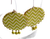 Dangle Earrings in Apple Green with Zig Zag Pattern - The Chevron Collection - NEW
