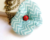 Charm Bracelet in Turquoise and Red with Zigzag Stripes - Flirty Poppy