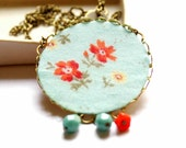 Pendant Necklace in Turquoise and Orange - Water and Garden