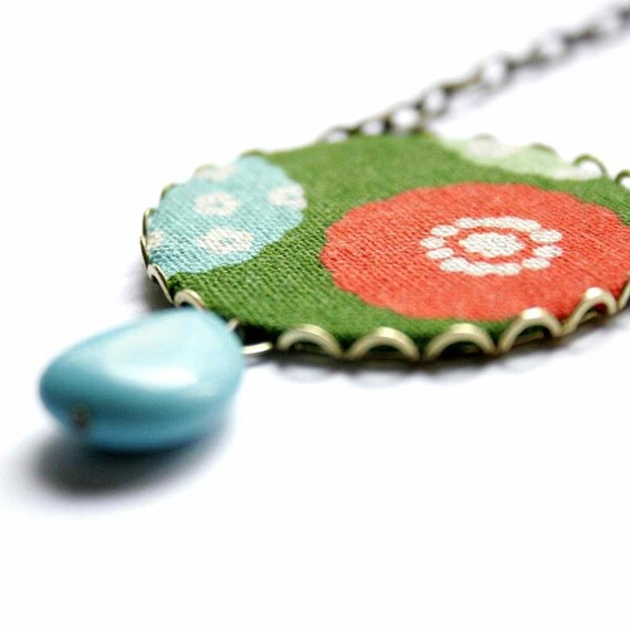 Pendant Necklace in Red and Turquoise - Round and Round - SALE