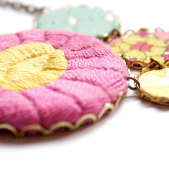Modern Hungary - Sunflower - textile jewelry necklace with embroidery