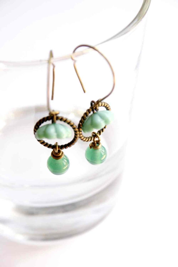 Hoop Earrings in Turquoise with Glass Beads - Shy