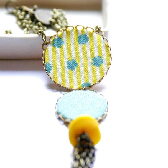 Necklace in Turquoise and Mustard Yellow with Stripes - Sunshine