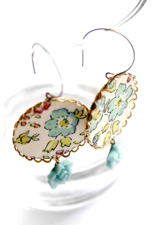 Big Earrings in Turquoise and Yellow with Liberty London Fabric - Spring in Blue