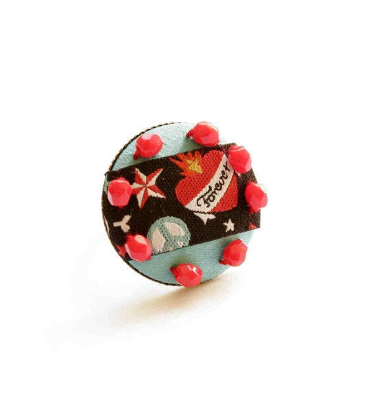 Big Ring with Punk Rock Heart in Turquoise and Red - Pseudo Cameo Line
