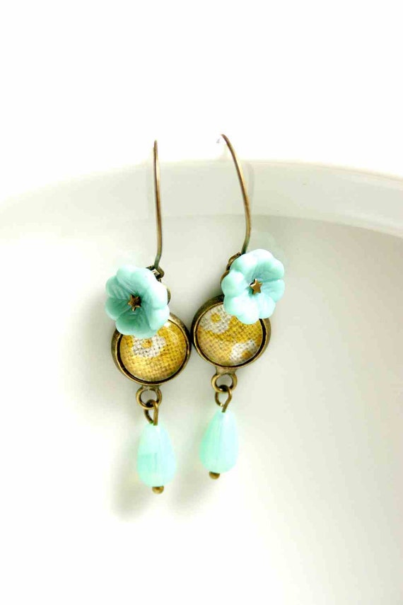 Dangle Earrings in Mustard Yellow and Turquoise and Magnifying Glass