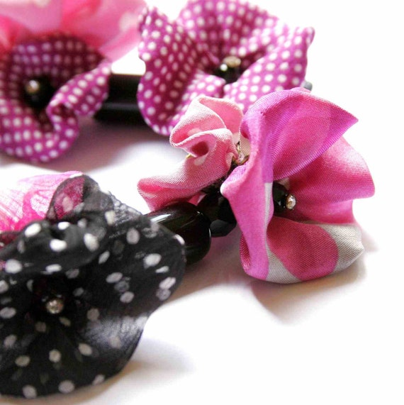 Statement Necklace in Black and Pink - Magenta Poppy Tree