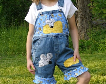Boutique Girls Say Cheese Mouse Overalls Custom