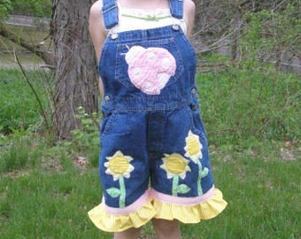 Boutique M2MG Sunflower Fields Overalls Custom