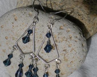 Montana Blue Swarovski Chandelier Earrings