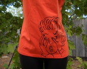 Special order ALang:  Halloween T-shirt Screaming Lady Bright Orange Spandex-XL