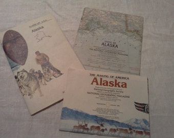 Alaska Maps Set of 3 from National Geographic Magazine: 1984, 1975, 1959