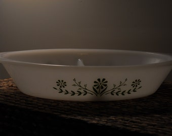 VINTAGE - GLASBAKE Green Daisy J2352 Divided Oval Casserole Vegetable Dish
