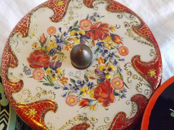 Vintage Tin Embossed Floral Design-Made in Holland