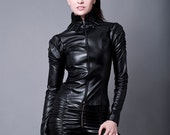Faux Leather Jacket- Made to Order (Faux Leather or PVC)