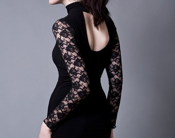 Black Turtleneck Evening Dress with Long Lace Sleeves-Made to measure (Your Size)