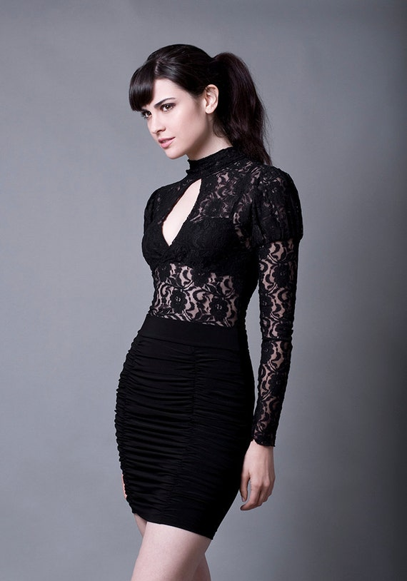 Lace Keyhole Blouse with long Sleeves-Made to Measure