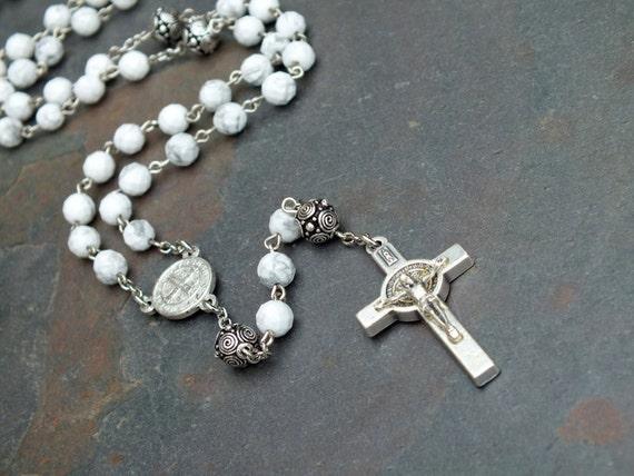 Howlite Gemstone St. Benedict Rosary