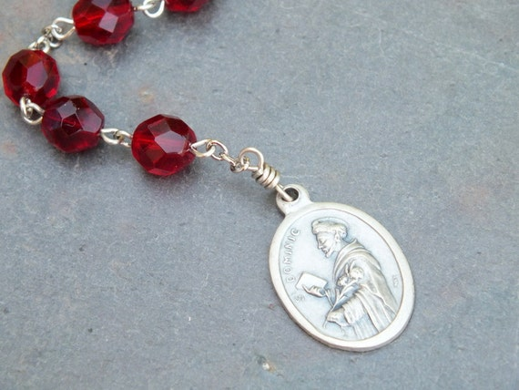Ruby Czech Glass St. Dominic Niner Chaplet
