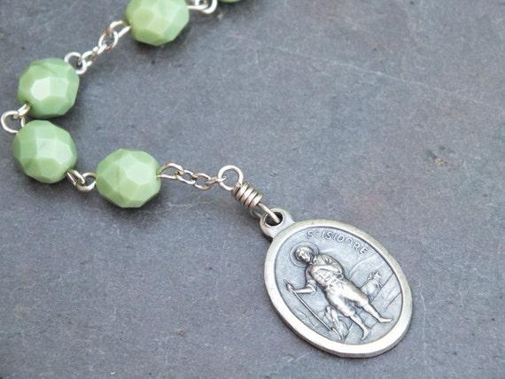 Opaque Green Czech Glass St. Isadore Niner Chaplet