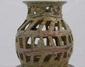 Hand Thrown Stoneware Window Lantern in Green River Glaze FREE SHIPPING