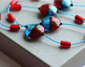 Reserved - Red and Blue Glass Necklace
