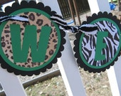ZEBRA LEOPARD SAFARI BANNER CUSTOM MADE WITH COLORS OF YOUR CHOICE