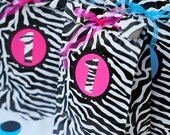 reserved for Michele ZEBRA PRINT favor bags 20  hot pink or turquoise personalize with letter or age