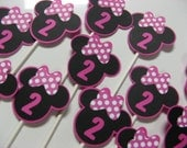 Minnie Mouse birthday cupcake toppers 1 dozen in this listing