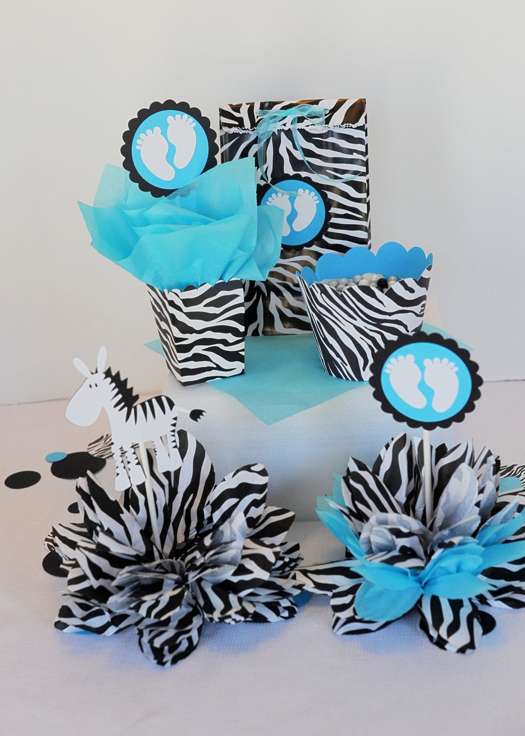 RESERVED for Amanda zebra centerpieces by missdaisyw on Etsy