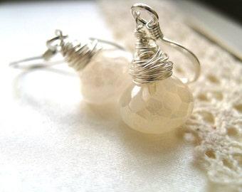 Bridal earrings White gemstone earrings pearl white chalcedony earrings Sterling Silver Wedding jewelry by Vitrine