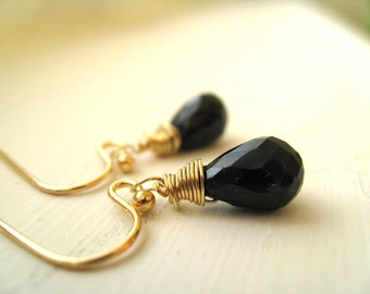 Black Gemstone earrings black Spinel Gold drops Gift for her by Vitrine Under 55