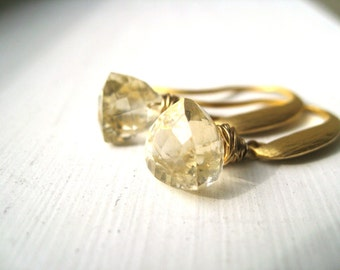 Gold Citrine Earrings Pale yellow drops November birthstone gift for her Under 60 by Vitrine