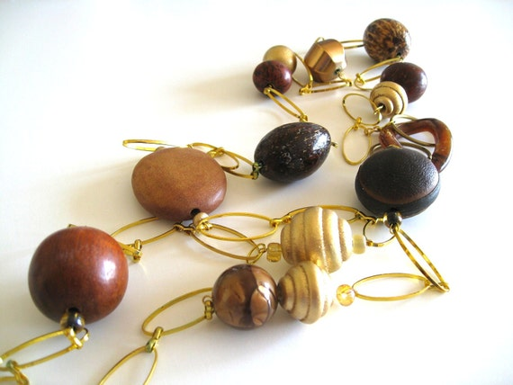 Ecowood necklace wooden jewelry brown bead necklace by Vitrine