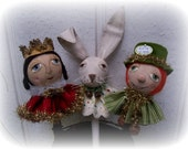 A Primitive, Folk Art, Rabbit, Queen, Leprechaun, Shaker, Bobble Head, E PATTERN by Pea