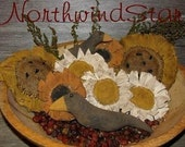 Sunflower  Daisy Crow  Primitive Ornies Bowl Fillers